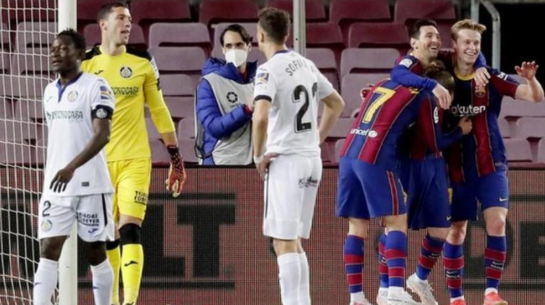 梅西在巴塞罗那获胜的比赛中获得了两次进球