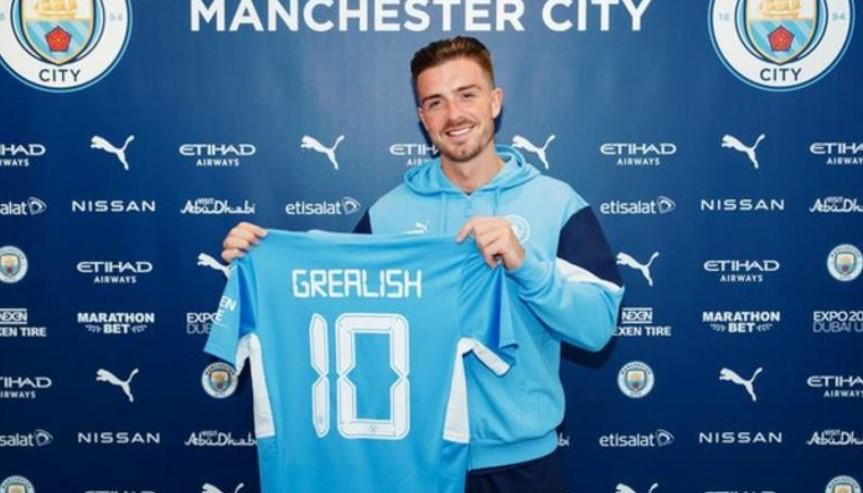 曼城以1亿英镑从阿斯顿维拉签下英格兰中场杰克.格雷利什