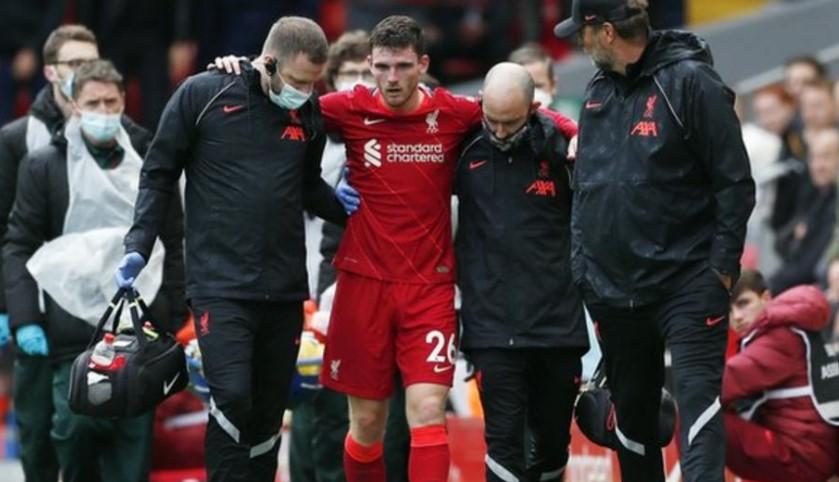 罗伯逊在利物浦得平局比赛中受伤