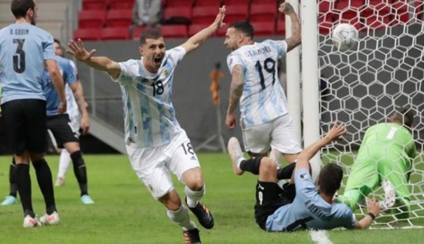 梅西助攻了圭多·罗德里格斯关键一球使队伍获得了胜利