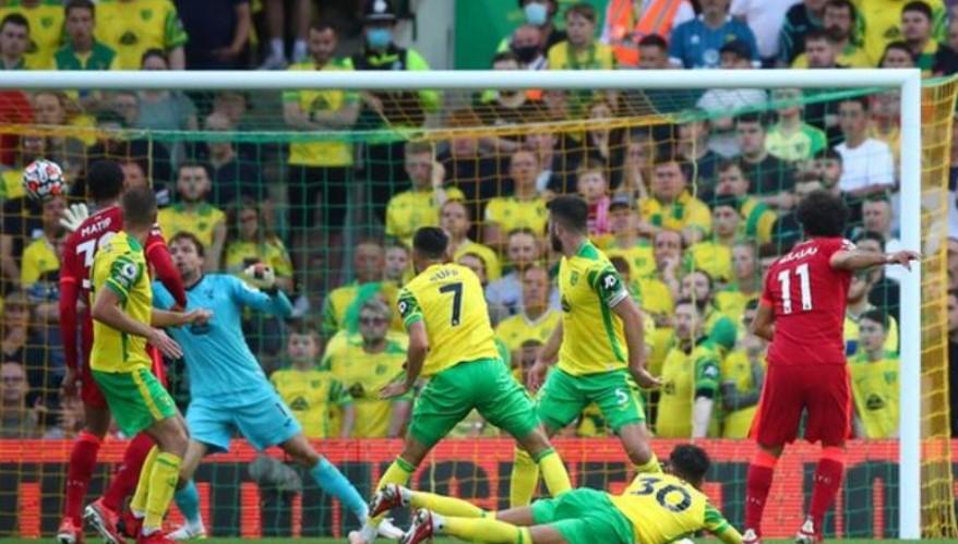 萨拉赫在利物浦击败诺维奇城的比赛中表现出色