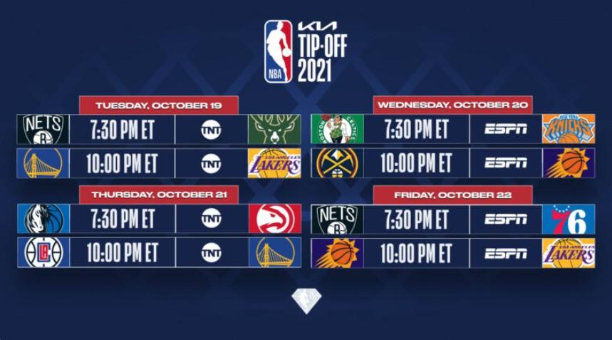 NBA 公布KIA NBA 提示和圣诞节时间表