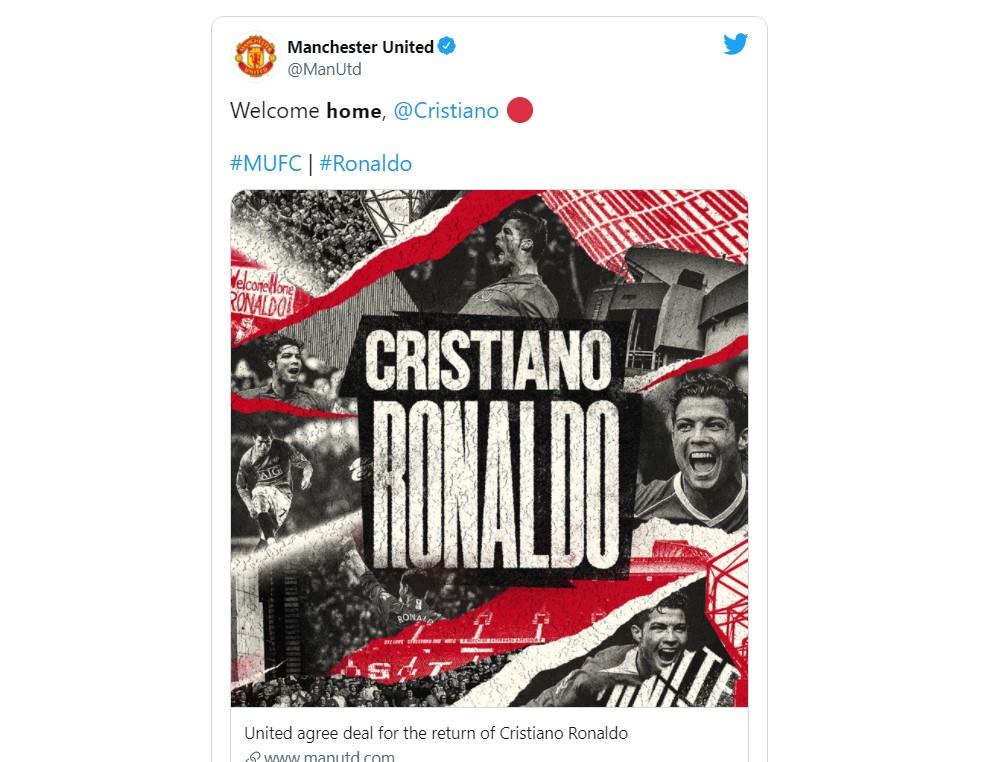 """曼联""""达成协议""""重新签下尤文图斯前锋克里斯蒂亚诺·罗纳尔多"""