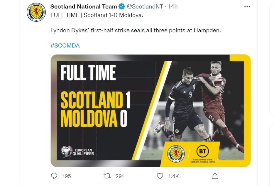 苏格兰在世界杯预选赛中击败了摩尔多瓦